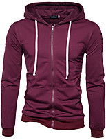 cheap -Men's Sports & Outdoor Daily Wear Casual Hoodie Solid Hooded Hoodies Micro-elastic Rayon Polyester Long Sleeves All Seasons