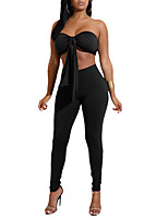 Women's Daily Going out Casual Sexy Set Pant Suits,Solid Backless Polyester