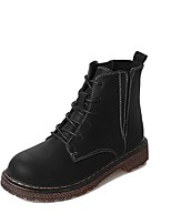 cheap -Women's Shoes Pigskin Winter Combat Boots Boots Round Toe Mid-Calf Boots For Casual Brown Black