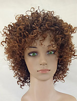 Women Synthetic Wig Capless Medium Length Kinky Curly Brown African American Wig Natural Wigs Costume Wig