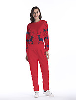 Sweat à capuche Pantalon Costumes Femme,Motif Animal Lettre Vacances Décontracté / Quotidien Chic de Rue Automne Hiver Manches Longues