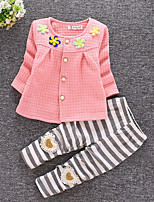 Girls' Striped Clothing Set,Polyester All Seasons Long Sleeve Street chic White Blushing Pink Yellow