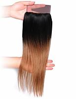 Недорогие -Натуральные волосы Реми Бразильские волосы Человека ткет Волосы Прямой силуэт Наращивание волос 1шт Черный / Medium Auburn