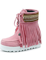 cheap -Women's Shoes Nubuck leather Spring Winter Ankle Strap Snow Boots Boots Round Toe Booties/Ankle Boots For Casual Pink Beige Black
