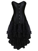 Women's Corset Dresses Solid-Medium Black