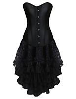 Damen Korsett-Kleider Solide Mittel Schwarz