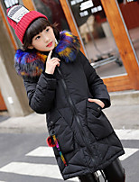 Girls' Solid Down & Cotton Padded Black Purple