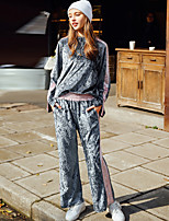Women's Daily Casual Spring/Fall Fall Hoodie Pant Suits,Sequin Round Neck Long Sleeve Polyester
