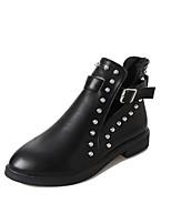 preiswerte -Damen Schuhe PU Winter Modische Stiefel Stiefel Runde Zehe Mittelhohe Stiefel Niete Für Normal Schwarz