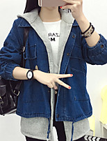 Women's Daily Going out Simple Casual Winter Fall Denim Jacket,Solid Hooded Long Sleeves Regular Cotton