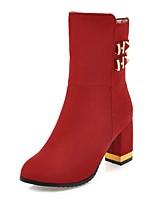 preiswerte -Damen Schuhe Kunstleder Winter Komfort Stiefel Runde Zehe Booties / Stiefeletten Schleife Für Kleid Party & Festivität Schwarz Gelb Rot