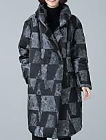 Недорогие -Пальто Простой На подкладке Для женщин,Контрастных цветов На выход На каждый день Хлопок Полиэстер Длинные рукава
