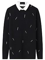 Для мужчин На каждый день Простой Обычный Пуловер Однотонный С принтом,Рубашечный воротник Длинный рукав Полиэстер Зима Осень Толстая