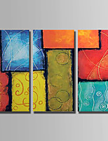 Hand-Painted Still Life Square,Abstract Three Panels Canvas Oil Painting For Home Decoration