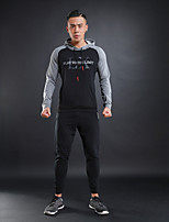 Men's Running T-Shirt with Pants Long Sleeves Thermal / Warm Breathable Hoodie for Running/Jogging Fitness Cotton Polyster Black
