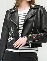 cheap -Women's Daily Party/Cocktail Simple Casual Winter Fall Leather Jacket,Floral Print V Neck Long Sleeve Long PU Oversized