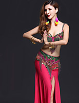 Belly Dance Outfits Women's Performance Spandex Crystals/Rhinestones Tassel(s) Split Sleeveless Dropped Skirts Bra Belt