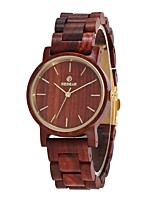 Women's Dress Watch Wood Watch Japanese Quartz Wooden Wood Band Elegant Minimalist Red