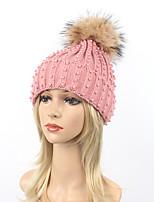 Для женщин Для вечеринки На каждый день Широкополая шляпа Лыжная шапочка,Зима Осень Шерсть Акрил Мех енота Однотонный Чистый цвет Черный