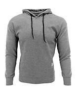 cheap -Men's Daily Hoodie & Sweatshirt Solid Cotton Long Sleeves