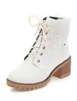 abordables -Mujer Zapatos Semicuero Otoño Invierno Botas de Moda Botas Dedo redondo Botines/Hasta el Tobillo Hebilla Para Casual Vestido Blanco Negro
