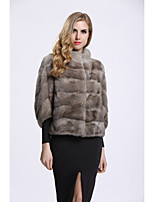 BF-Fur Style Women's Going out Simple Winter Fur Coat,Solid V Neck 3/4 Length Sleeves Short Fox Fur