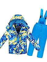 Ski Jacket with Pants Kid's Ski & Snowboard Warm Waterproof Windproof Wearable Antistatic Eco-friendly Polyester PU Leather Snow Bib