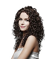 Women Human Hair Lace Wig Brazilian Human Hair Lace Front 130% Density Kinky Curly Wig Medium Brown Dark Brown Black Dark Black Short