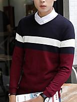 Для мужчин На выход На каждый день Короткий Пуловер Полоски Контрастных цветов,Круглый вырез Длинный рукав Хлопок Акрил Осень Зима Толстая