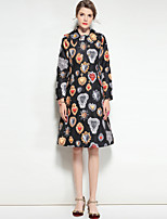 cheap -Mary Yan & Yu Women's Daily Going out Vintage Cute Boho Winter Fall Trench coat,Floral Print Shirt Collar Long Sleeves Regular Polyester Spandex