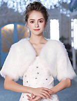 Half Sleeves Faux Fur Wedding Party / Evening Women's Wrap With Feather/ Fur Shrugs