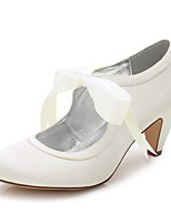 Women's Shoes Silk Spring Summer Comfort Wedding Shoes Round Toe For Wedding Party & Evening Dress Ivory White