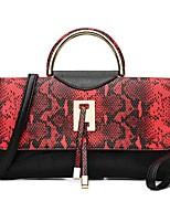 economico -Donna Sacchetti PU (Poliuretano) Tote Tasche per Primavera Estate Blu Bianco Nero Rosso