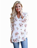 cheap -Women's Daily Going out Vintage Sophisticated Spring/Fall Shirt,Floral Geometric V Neck Long Sleeves Acrylic Polyester Opaque Medium