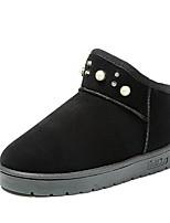 abordables -Mujer Zapatos Vellón Invierno Otoño Botas de nieve Botas Tacón Plano Dedo redondo Botines/Hasta el Tobillo Perla Para Casual Negro Gris