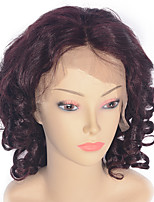 cheap -Women Human Hair Lace Wig Brazilian Human Hair Lace Front 130% Density Natural Wave Kinky Curly Water Wave Curly Loose Wave Wig Dark Wine