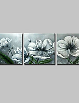 Hand-Painted Floral/Botanical Square,Simple Modern Three Panels Canvas Oil Painting For Home Decoration