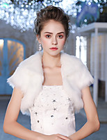 Short Sleeves Faux Fur Wedding Party/ Evening Women's Wrap With Feather/ Fur Shrugs