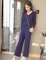Feminino Camiseta Calça Conjuntos Casual Simples Primavera Outono,Sólido Algodão Decote V Manga Longa