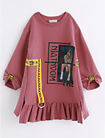 Girl's Word / Phrase Dress,Cotton Long Sleeves