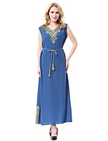 Women's Party Casual/Daily Simple Abaya Jalabiyah Kaftan Dress,Solid Jacquard V Neck Midi Sleeveless Wool Polyester Summer Mid Rise