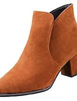 Недорогие -Для женщин Обувь Резина Зима Армейские ботинки Ботинки Заостренный носок Назначение Черный Коричневый
