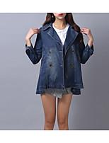 Women's Daily Simple Casual Winter Fall Denim Jacket,Solid Shirt Collar Long Sleeve Regular Cotton Oversized
