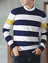 Men's Casual/Daily Short Pullover,Striped Round Neck Long Sleeves Cotton Fall Medium Micro-elastic