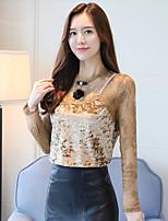 Недорогие -Для женщин На каждый день Блуза Круглый вырез,Изысканный Однотонный Длинный рукав,Полиэстер