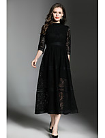 Women's Party Boho Shift Sheath Dress,Solid Round Neck Maxi Long Sleeve Polyester Fall Mid Rise Inelastic Opaque