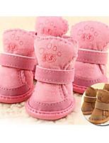 Chat Chien Pet Shoes Plate Garder au chaud Loisir Solide Marron Rose Pour les animaux domestiques