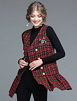 EWUS Women's Daily Going out Street chic Winter Fall Sweater Dress Suits,Solid Plaid/Check Stand Long Sleeves 100%Polyester Inelastic