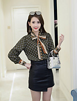 Women's Daily Wear Sophisticated Spring Blouse,Print Notch Long Sleeves Nylon