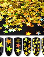 6 бутылок / набор пятиконечный звездный гвоздь блеск блестки 6 цветов смешанный лазер голографический гвоздь блеск порошок женщины ногтей